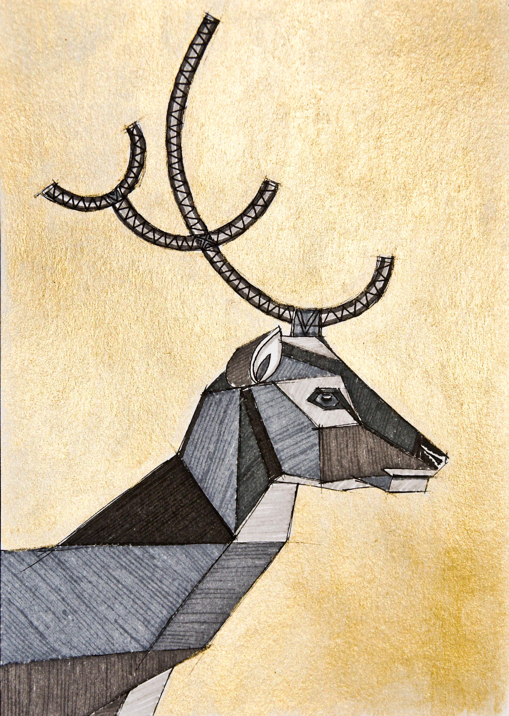 Art deco deer