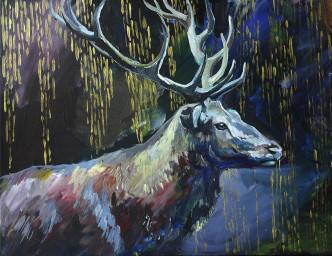 Dark Forest Deer by Inessa Demidova